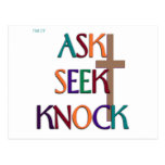 Matt 7:7 customizable christian gift postcard