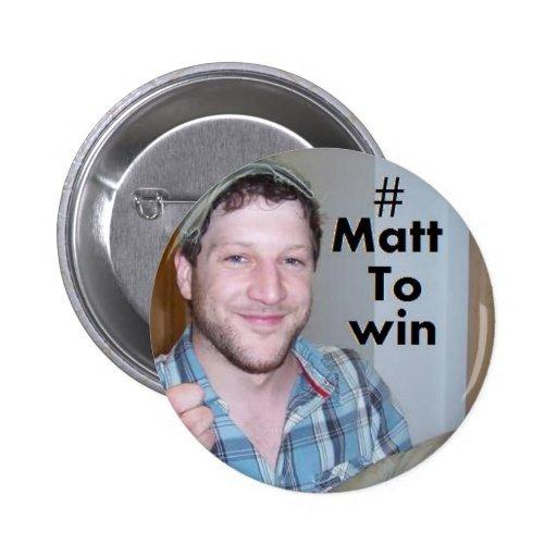 Matt Cardle para ganar el factor 2010 de x Pin Redondo De 2 Pulgadas