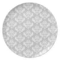 Matt Silver Grey and white damask plate