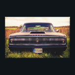 """Matte Black 1966 Dodge Charger on Grass Canvas Print<br><div class=""""desc"""">The one and only -  a perfectly restored 1966 Dodge Charger in sunset.</div>"""