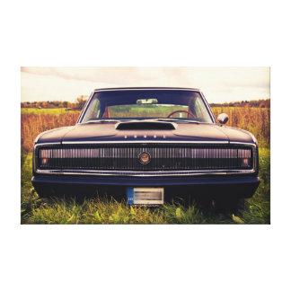 Matte Black 1966 Dodge Charger on Grass Canvas Print
