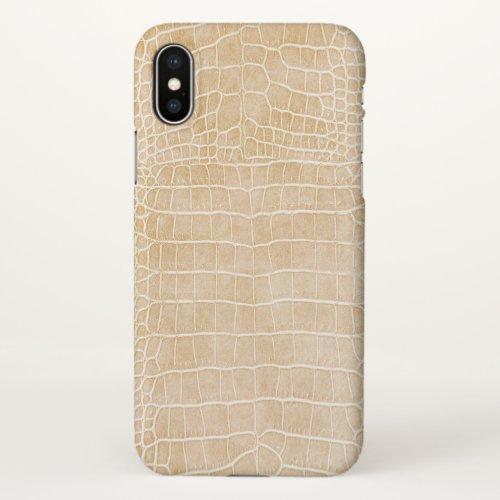 Matte Champagne Faux Crocodile Leather Phone Case