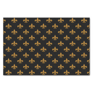 "Matte Gold Fleur-de-lis on Black 10"" X 15"" Tissue Paper"