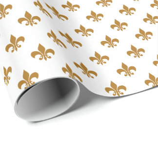Matte Gold Fleur-de-lis on White Wrapping Paper
