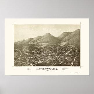 Matteawan, mapa panorámico de NY - 1886 Póster