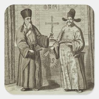 Matteo Ricci (1552-1610) y Paulus Li, de 'Chin Pegatina Cuadrada