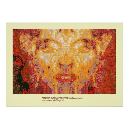 MATTER DOESN'T MATTER Fractal Mask in Red Yellow Poster