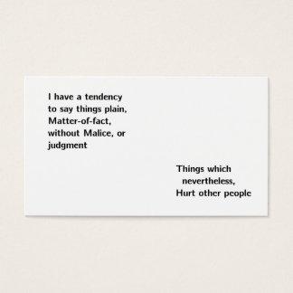"""""""matter-of-fact"""" business card"""