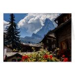 Matterhorn and Zermatt village houses, Switzerland Card