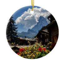 Matterhorn and Zermatt village houses, Switzerland Ceramic Ornament