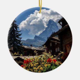 Matterhorn and Zermatt village houses, Switzerland Ceramic Ornament
