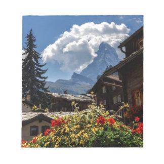 Matterhorn and Zermatt village houses, Switzerland Notepad