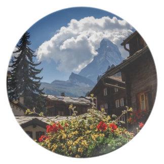 Matterhorn and Zermatt village houses, Switzerland Plate