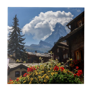 Matterhorn and Zermatt village houses, Switzerland Tile