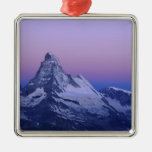 Matterhorn at dawn, Zermatt, Swiss Alps, Square Metal Christmas Ornament
