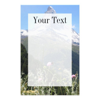 Matterhorn mountain in spring writing paper