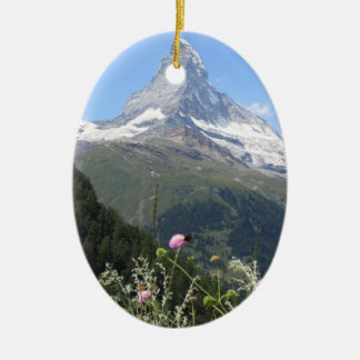 Matterhorn Mountain photo Double-Sided Oval Ceramic Christmas Ornament
