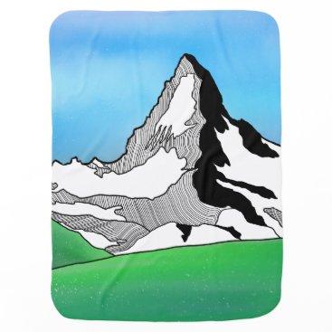Art Themed Matterhorn Switzerland Line art watercolor Baby Blanket