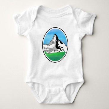Art Themed Matterhorn Switzerland Line art watercolor Baby Bodysuit