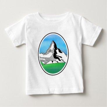 Art Themed Matterhorn Switzerland Line art watercolor Baby T-Shirt