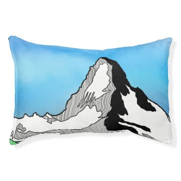 Art Themed Matterhorn Switzerland Line art watercolor Pet Bed