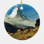 Matterhorn, Zermatt, Switzerland Double-Sided Ceramic Round Christmas Ornament