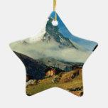 Matterhorn, Zermatt, Switzerland Double-Sided Star Ceramic Christmas Ornament