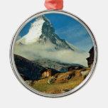 Matterhorn, Zermatt, Switzerland Round Metal Christmas Ornament