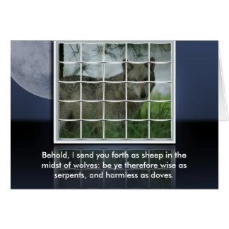 Matthew 10:16 BIBLE QUOTE SHEEP AMONG WOLVES Greeting Card