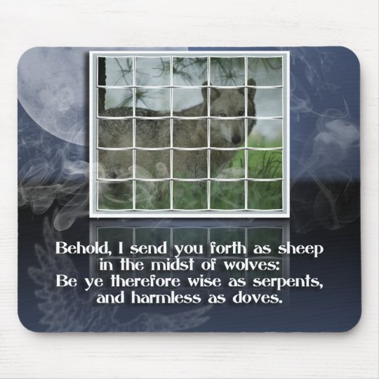 Matthew 10:16 BIBLE QUOTE SHEEP AMONG WOLVES Mouse Pad