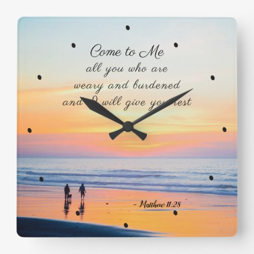 Matthew 11:28 Come to Me all who are Weary Bible Square Wall Clock