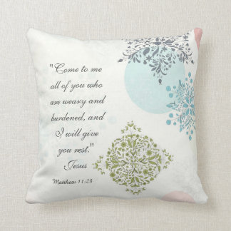 Matthew 11:28 Come to me all who are weary, Bible Throw Pillow