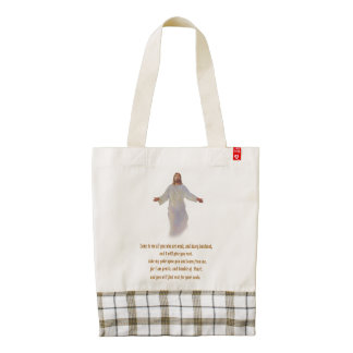 Matthew 11:28 gifts zazzle HEART tote bag