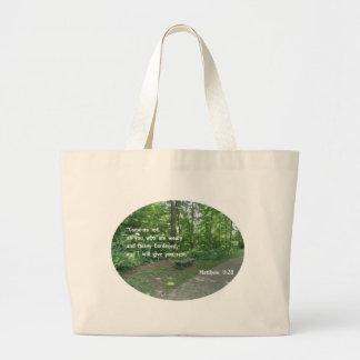 Matthew 11:28 large tote bag