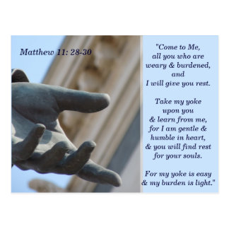 Matthew 11 28 tarjeta de memoria de 30 escrituras tarjeta postal