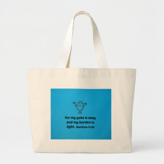 Matthew 11:30 For my yoke is easy and my burden... Large Tote Bag