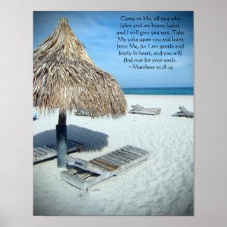 Matthew 11 Beach Scenic Christian Bible Art Print
