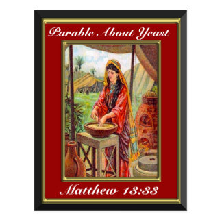 Matthew 13:33 Parable About Yeast Red Frame Postcard