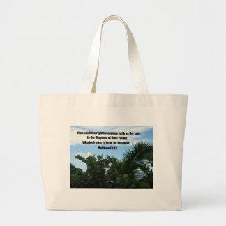 Matthew 13:43 large tote bag