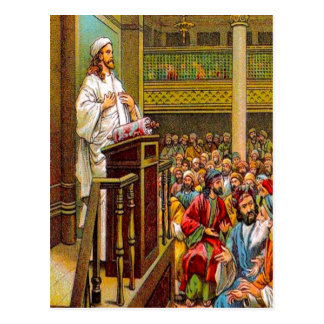 Matthew 13:53-58 Jesus Teaches in the Synagogue po Postcard