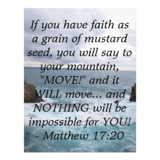 "Matthew 17:20  Motivational Bible Quote 8.5"" X 11"" Flyer"