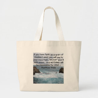 Matthew 17:20  Motivational Bible Quote Large Tote Bag