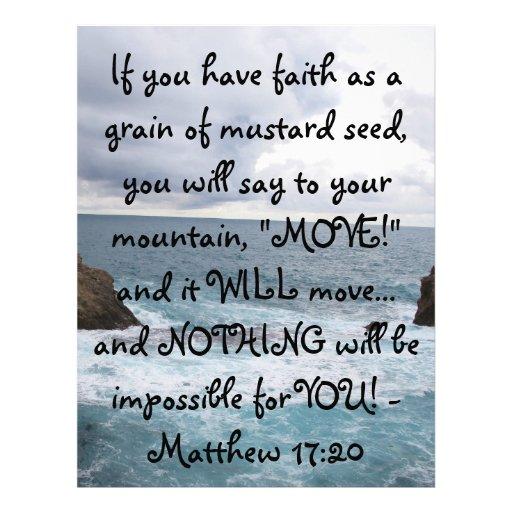 Matthew 17:20  Motivational Bible Quote Letterhead Template