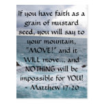 Matthew 17:20  Motivational Bible Quote Postcard