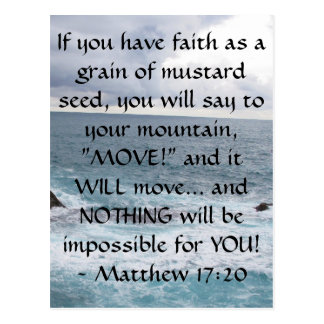 Matthew 17:20  Motivational Bible Quote Postcard