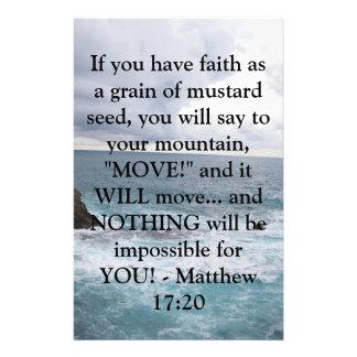 Matthew 17:20  Motivational Bible Quote Stationery