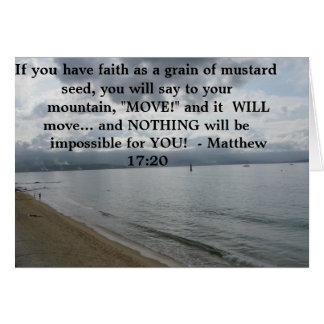 Matthew 17:20 - Motivational Inspirational Quote Greeting Card