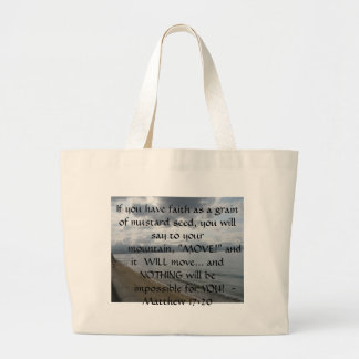 Matthew 17:20 - Motivational Inspirational Quote Large Tote Bag