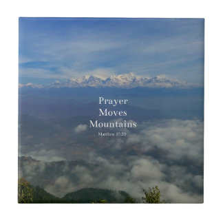 Matthew 17:20 Prayer Moves Mountains Small Square Tile