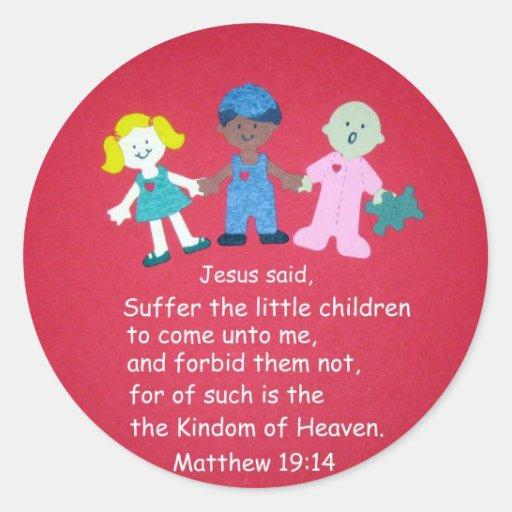 Matthew 19:14 classic round sticker